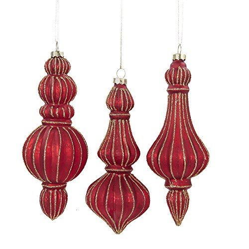 Kurt Adler 7-inch Molded Glass Red Finial Ornaments, Set of 3