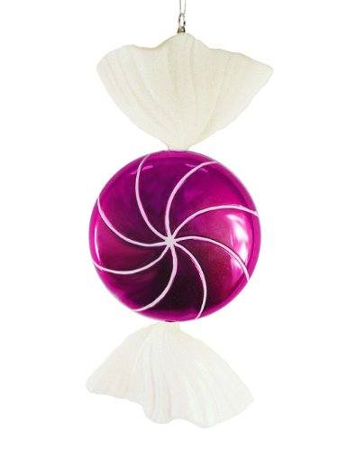 Vickerman 18″ Candy Fantasy Wrapped Raspberry Christmas Decoration Ornament, Large
