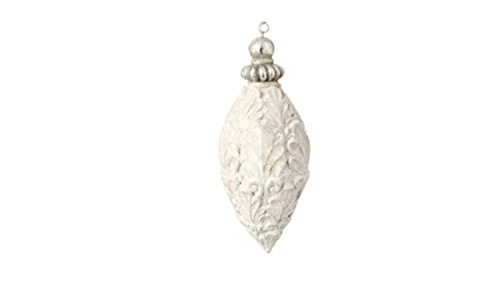5.5″ White Antique-Style Acanthus Leaf Glittered Finial Christmas Ornament
