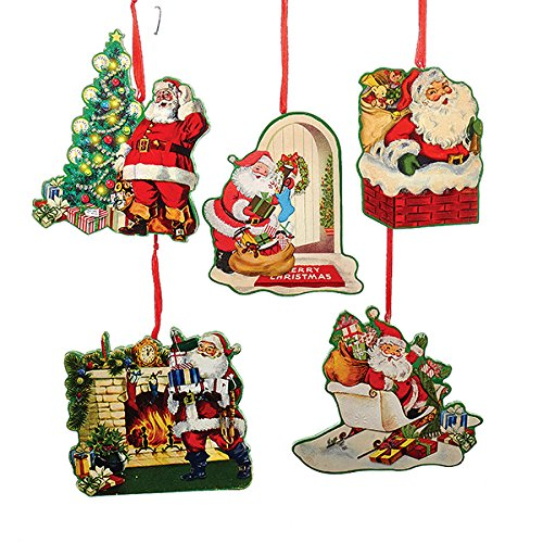 Kurt Adler 1 Set 5 Assorted Retro Santa Wood Christmas Ornaments
