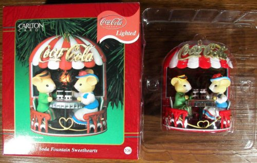 "Carlton Cards Heirloom Collection Coca Cola Lighted Ornament ""Soda Fountain Sweethearts"" 2001"