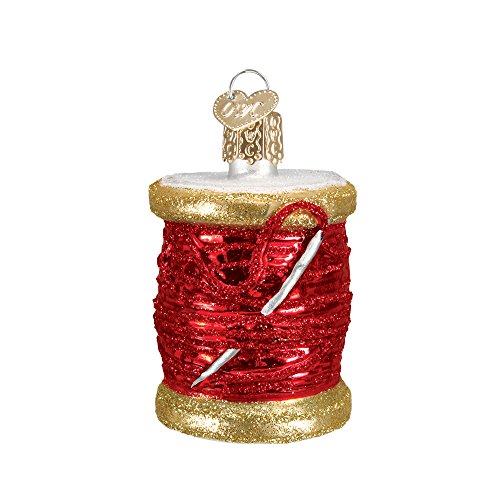 Red Spool of Thread Glass Blown Hanging Christmas Ornament