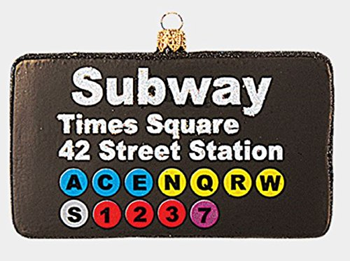 Times Square Subway Sign Polish Glass Christmas Ornament New York City NY USA