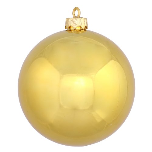 Vickerman Shiny Ball Finish Seamless Shatterproof Christmas Ball Ornament, UV Resistant with Drilled Cap, 6 per Bag, 4″, Gold