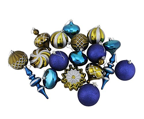Vickerman Set of 18 Blue & Antique Brass Ball, Finial and Onion Shatterproof Christmas Ornaments 3″- 6″