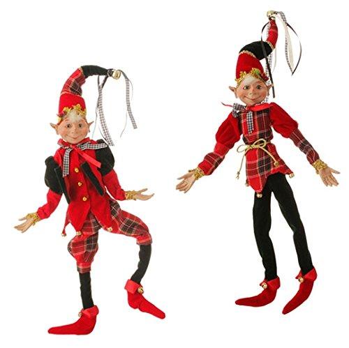 RAZ 16″ Red & Green Posable Elf- Set of 2