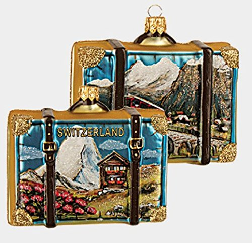 Switzerland Travel Suitcase Polish Glass Christmas Ornament Decoration