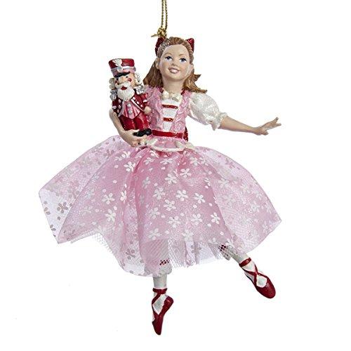 The Nutcracker Suite Clara in Pink Dress Holding Nutcracker Christmas Ornament by Kurt Adler