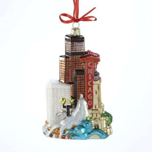 Kurt Adler Noble Gems Chicago Glass Cityscape Ornament