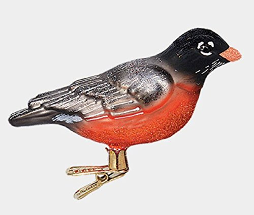 American Robin Bird Clip On Polish Glass Christmas Tree Ornament Animal Wildlife
