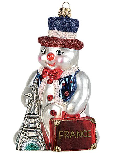 French Snowman Polish Glass Christmas Ornament Paris France Tree Decoration
