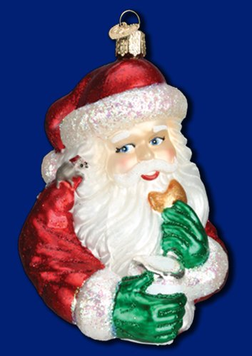 "Old World Christmas Cookie Break Santa, 4 ¾"" Glass Ornament"