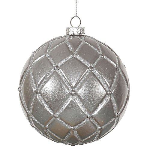 Vickerman Net Ball Christmas Ornaments Candy Finish with Glitter Accents, 6 per Box, 4″, Pewter