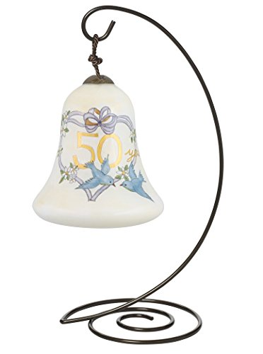 "Ne'Qwa Petite Bell-Shaped Glass Ornament With Classic Hanging Stand, ""50th Anniversary"" Artist Susan Winget, #7144118"