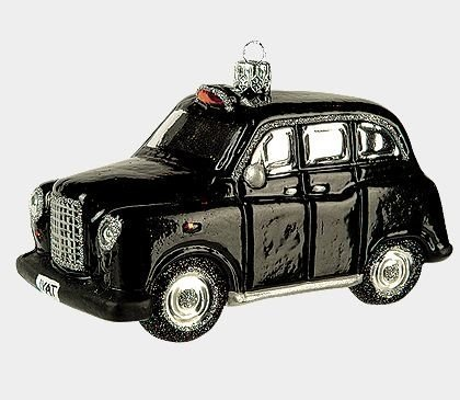 Hackney Carriage British Taxi Polish Glass Christmas Ornament by Pinnacle Peak Trading Company