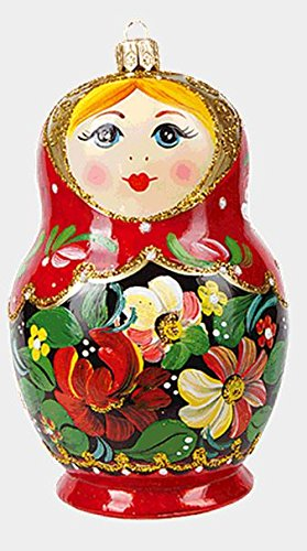 Large Red Flower Matryoshka Russian Nesting Doll Polish Glass Christmas Ornament