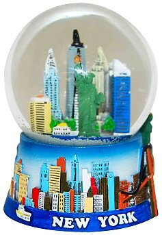 New York Snow Globe -45MM Colorful Skyline Small, New York Snow Globes, New York Souvenirs