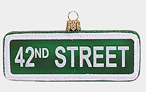 42nd Street New York Street Sign Polish Glass Christmas Ornament NYC Decoration