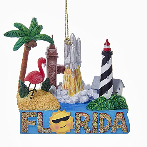 Florida Travel Destination Landmarks Christmas Ornament Palm Trees Beach A1691 by Kurt Adler