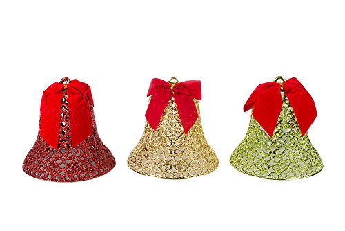 Red, Gold, and Green Multicolored Hanging Christmas Bell Decorations With Red Bow- Triple Pack 6″