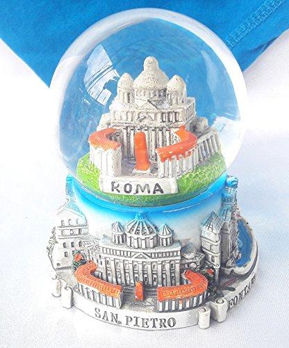 Souvenir Snowdome Italy Snowglobe Rome St. Peter's Square&Basilica Italia 9.3cm