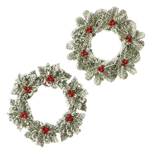 4.5″ Glittered Wreath Christmas Tree Ornaments – Set of 2