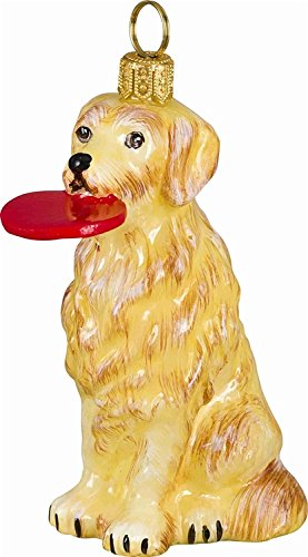 Golden Retriever with Frisbee Polish Blown Glass Christmas Ornament