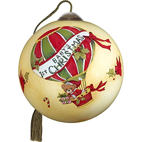 Precious Moments, Ne'Qwa Art 7171162 Hand Painted Blown Glass Petite Round Shaped Baby's First Christmas Ornament, 2.5-inches