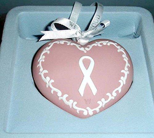 Wedgwood Heart Shaped Jasper Ornament Breast Cancer Awareness 2-Sided New in Box