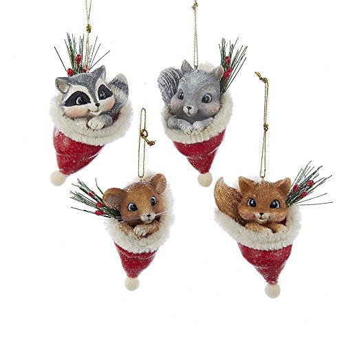 Kurt Adler 3.25-inch Vintage Animal in Santa Hat Ornaments, Set of 4