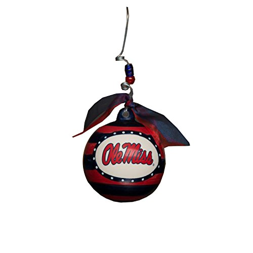 Glory Haus Ole Miss Stripe Ornament, 4-Inch