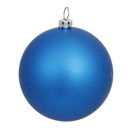 Vickerman Matte Lavish Blue UV Resistant Commercial Shatterproof Christmas Ball Ornament, 4″