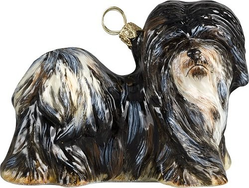 Black and White Lhasa Apso Dog Polish Blown Glass Christmas Ornament by Pinnacle Peak Trading Company
