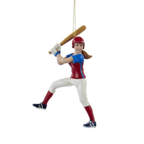 Kurt Adler Softball Girl Figure Christmas Ornament