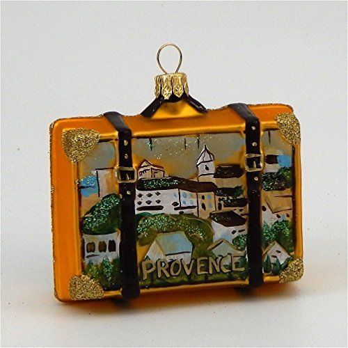 Provence France Travel Suitcase Polish Mouth Blown Glass Christmas Ornament by Pinnacle Peak Trading Company