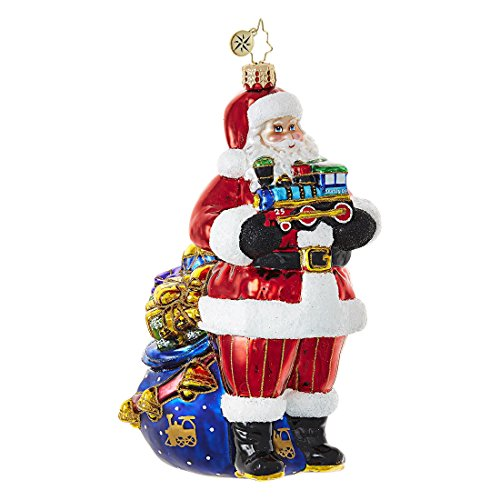Christopher Radko Choo-Choo Santa Claus Train Themed Glass Ornament – 6″H.