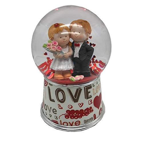 Lightahead 100 mm Polyresin Water Globe with Falling Glitter and Music Playing Water Ball Table Top Decoration/ValentineDayGifts, Love Couple