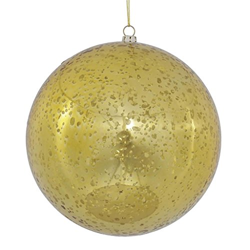 Vickerman 440469 – 6″ Gold Shiny Mercury Ball Christmas Tree Ornament (4 pack) (M166508)