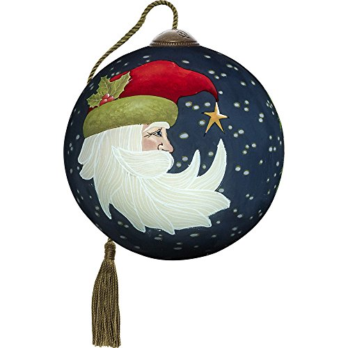 Precious Moments, Ne'Qwa Art 7171115 Hand Painted Blown Glass Petite Round Shaped Joyeux Noel Ornament, 3-inches