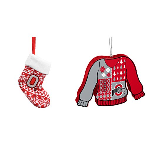 NCAA Ohio State Buckeyes ORNAMENT STOCKING KNIT Foam Ugly Sweater Christmas Ornament Bundle 2 Pack By Forever Collectibles