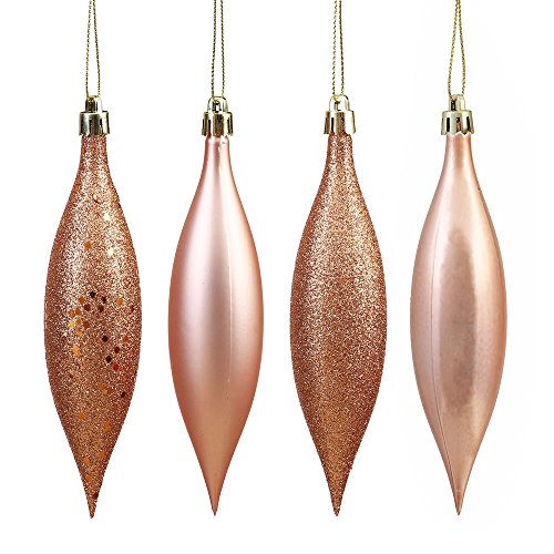 Vickerman N500158 Shatterproof Drop Ornament with 4 Separate Finishes (shiny, matte, glitter and sequin) in 8 per box, 5.5″, Rose Gold