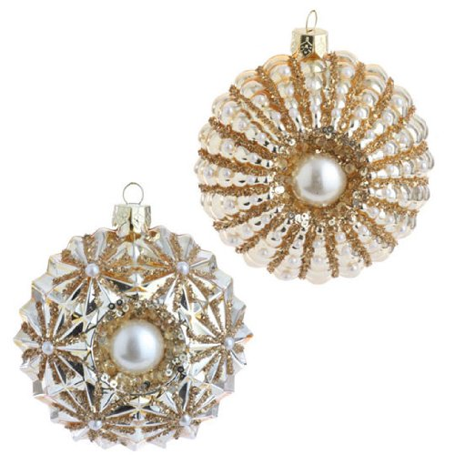 RAZ Imports – Gold Glass Beaded Medallion Ornaments