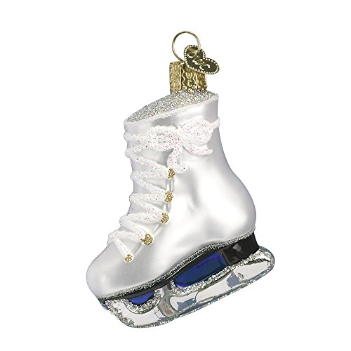 Old World Christmas Glass Blown Ornament with S-Hook and Gift Box, Sports Collection (Ice Skate)