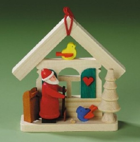 Santa House with Birds German Wood Christmas Tree Ornament Decoration Germany