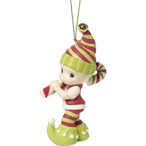 Precious Moments Wishing You The Sweetest Holiday Second in Annual Elf Series Bisque Porcelain Ornament 171014