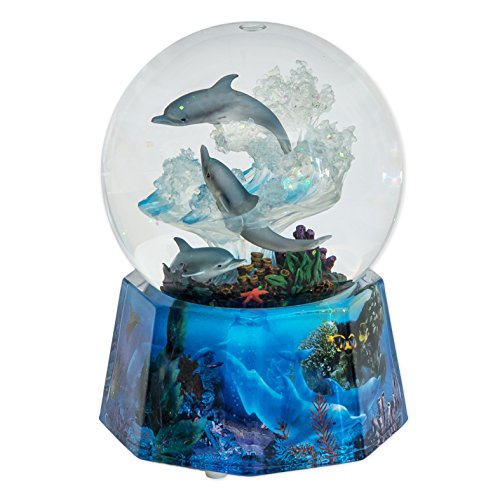 "MusicBox Kingdom 25215 Dolphin Glitter Globe Music Box Playing ""Over The Waves"""