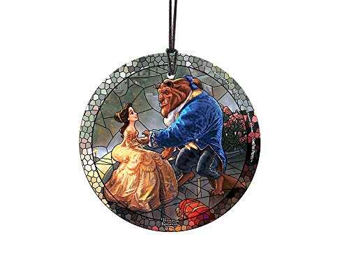 Disney Beauty and the Beast (Stained Glass Style) StarFire Prints Glass Ornament – Home and Christmas Tree Decoration