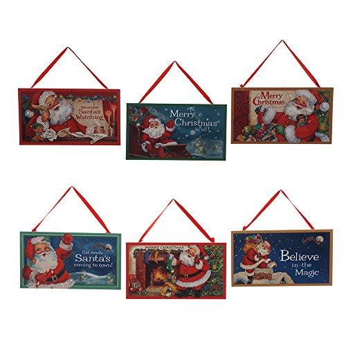 Kurt Adler 7-inch Vintage Santa Printed Plaques, Set of 6