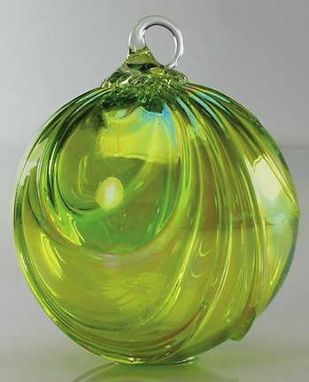 August Birthday – Hand Blown Glass Ornament – Peridot