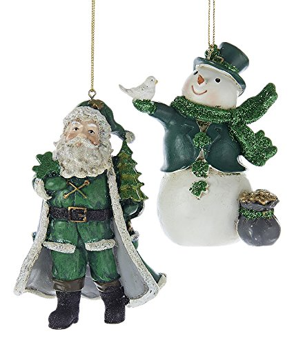 "Kurt Adler 4.5"" Resin Irish Snowman and Santa Ornaments, Set of 2"